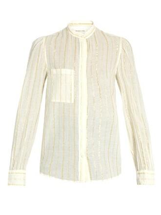 shirt striped shirt cotton white top