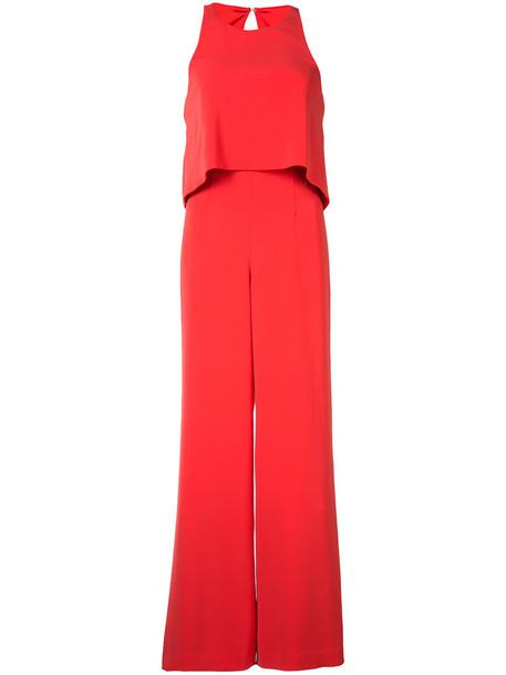Jay Godfrey layered sleeveless jumpsuit, Women's, Size: 2, Red, Polyester/Spandex/Elastane