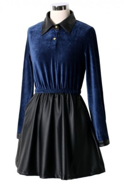 dress black leather dark shirt dress blue goth gothic