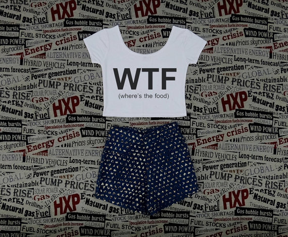 Wtf where's the food print womens crop top ladies short sleeve stretch t shirt tee