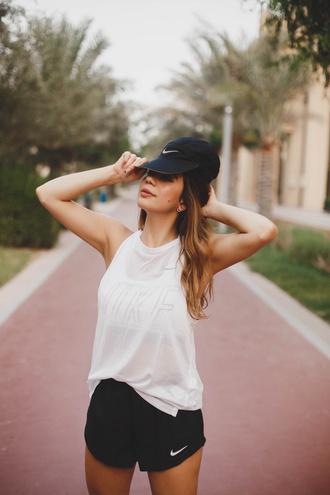 hat tumblr baseball cap cap top white top shorts sportswear sports shorts activewear underwear