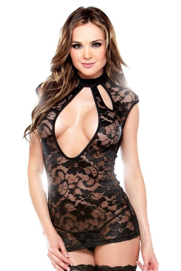 Fantasy Cutout Neckline Little Black Lace Evening Wear Mini Dress/Chemise 8-12