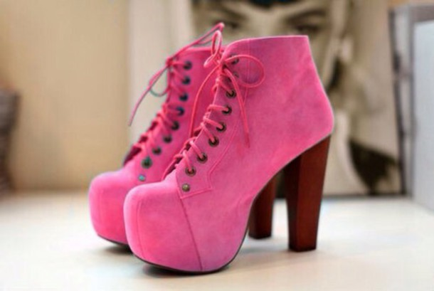shoes pink ankle length boots