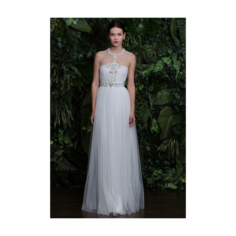 Naeem Khan - 2014 - Capri Sleeveless Tulle and Organza A-Line Wedding Dress with a Beaded Illusion High Neckline - Stunning Cheap Wedding Dresses Prom Dresses On sale Various Bridal Dresses
