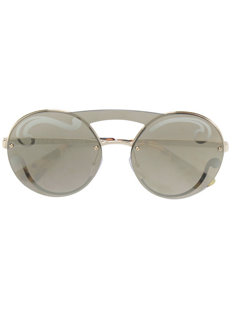Prada Eyewear oversized metal women sunglasses round sunglasses grey metallic