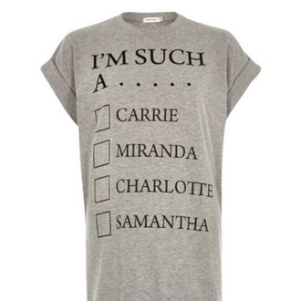 t-shirt sex and the city miranda hobbes samantha jones charlotte grey t-shirt carrie bradshaw top