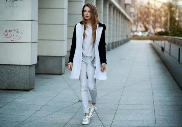 madame julietta blogger coat silver shoes shoes pants blouse jacket