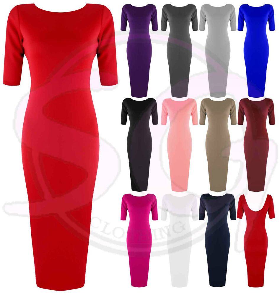 Womens Ladies Celeb ¾ Sleeve Low Back Stretch Long Maxi MIDI Bodycon Dress | eBay