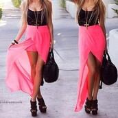 skirt,pink,black top,see through,mesh top,lace top,black lace,black lace top,wedges,black shoes,black bag,pink skirt,asymmetrical,pink maxi skirt,asos,dress,pink dress,long&shot,neon pink