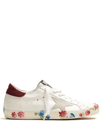 top floral leather print white