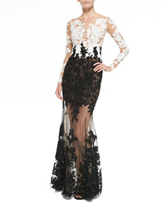 Embroidered sheer gown