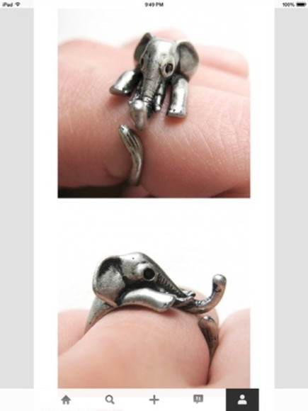 jewels elephant silver ring hug