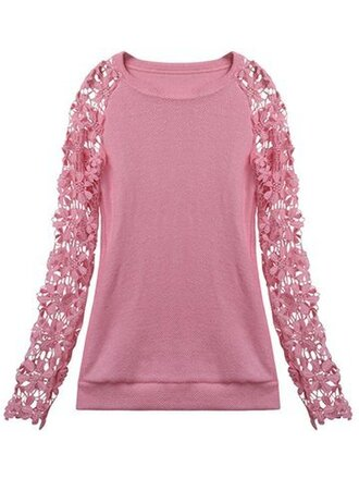 top pink trendy long sleeves crochet girly fashion cute newchic