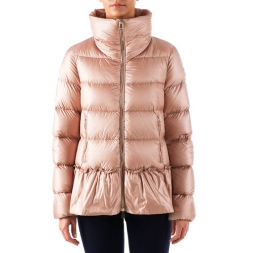 Moncler Anet Ladies Quilted Down Peplum Jacket Pink | LINEAFASHION.COM Online Fashion Store
