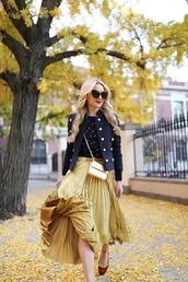 atlantic pacific,blogger,skirt,sweater,jacket,shoes,sunglasses,pleated skirt,midi skirt,gold skirt,blue jacket,crossbody bag
