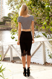 skirt,lace hem,black,bodycon,midi,shopfashionavenue,stripes,crop tops,black and white