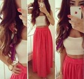 skirt,pink maxi skirt,pink,dress,long,maxi skirt,crop tops,shirt,clothes,long skirt,long skirt with bow,zuiki,top with long skirt,tank top,white summer top,white crop tops,summer skirt,pink skirt,maxi,pretty,pretty skirt,coral dress,top,beautiful,cute,fashion,style,crop top and skirt,pink red maxi skirt