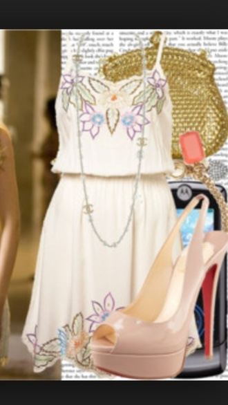 dress skirt floral dress tank top blake livley gossip girl serena van der woodsen