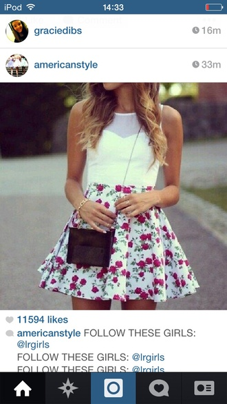 white skirt tank top foral