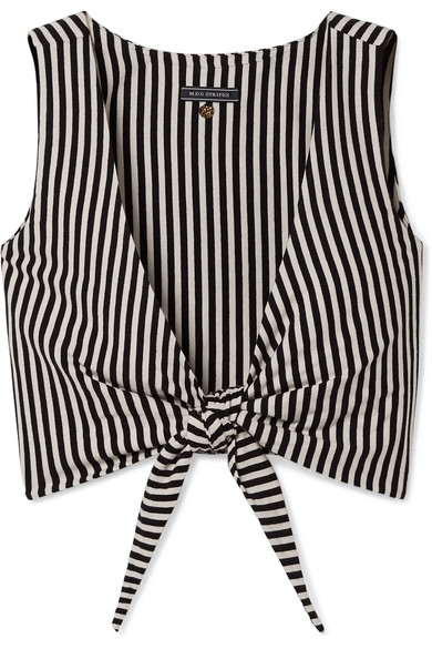 MDS Stripes - Clair cropped tie-front striped cotton-jersey top