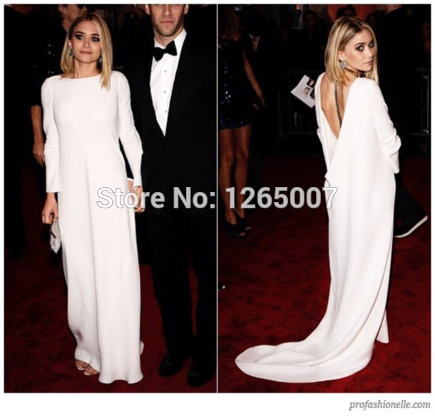 Aliexpress.com : Buy Fashion Aashley Olsen Boat Neck Long Sleeves Open Back A Line Long Robe Celebrity Dress New Fashion 2014 from Reliable dress women suppliers on SFBridal