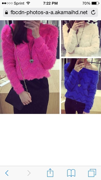 sweater blue furry sweater white furry sweter faux fur sweater pink furry sweater fur faux fur