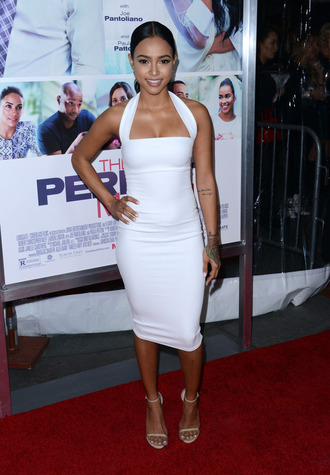 dress bustier dress white dress white bodycon dress karrueche sandals midi dress summer dress