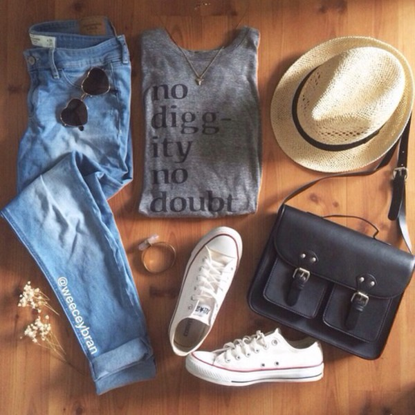 jeans bag t-shirt undefined converse hat sunglasses cardigan
