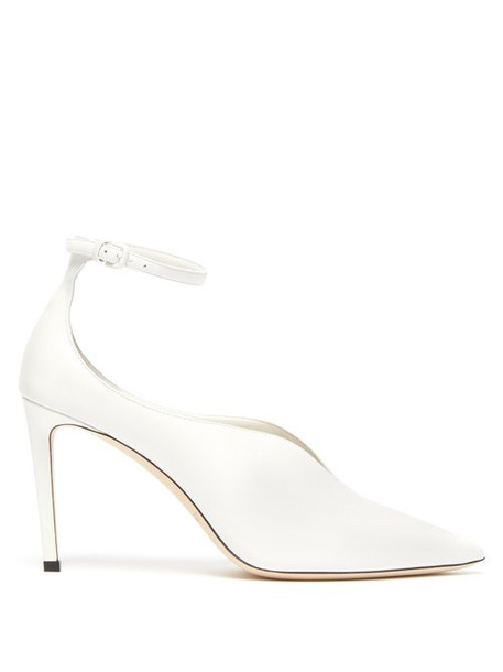 ankle strap pumps leather white shoes