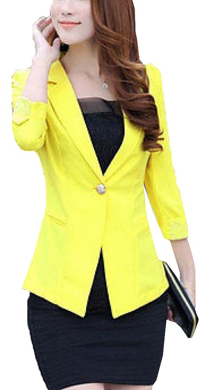 Women's blazer 3/4 sleeve one button lady workwear suit coat jacket outwear at amazon women's clothing store: