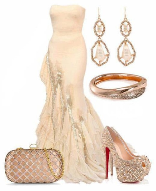 Cream Feathered Bottom Mermaid Long Prom Dress Wheretoget