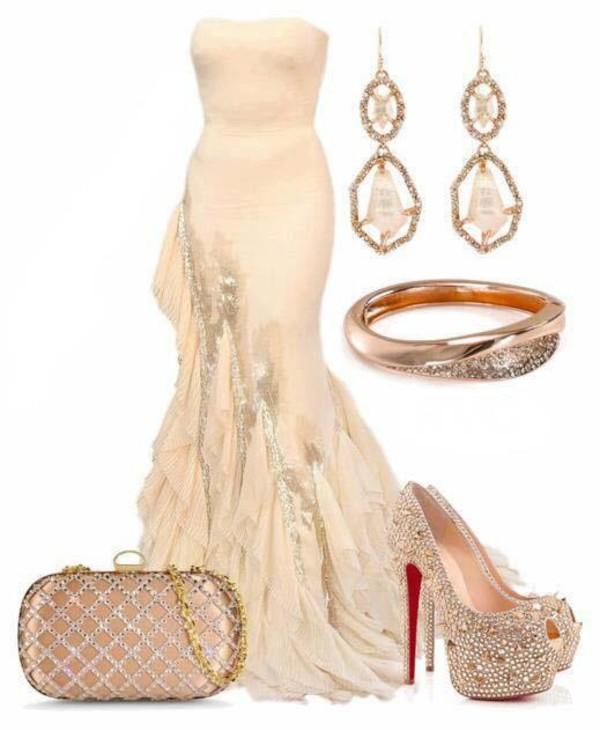 cream feathered bottom mermaid long prom dress