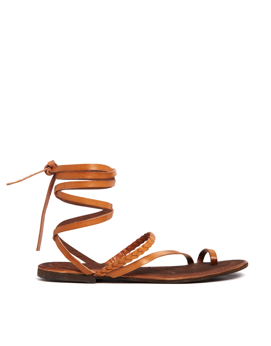 ASOS FAIRY Leather Flat Sandals at asos.com