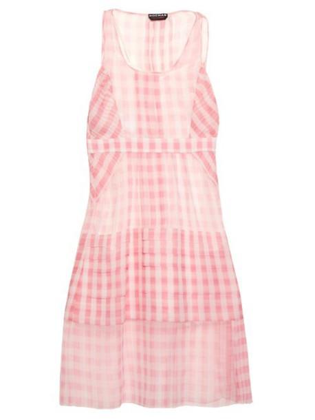 Rochas dress oversized silk gingham white pink