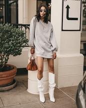 shoes,boots,white boots,slouchy boots,dress,sweatshirt dress,grey dress,sunglasses,bag,brown bag