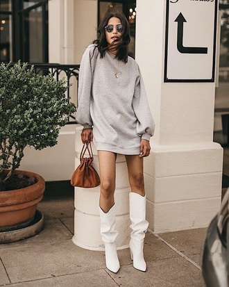 shoes boots white boots slouchy boots dress sweatshirt dress grey dress sunglasses bag brown bag