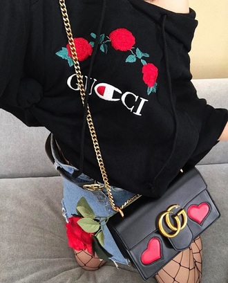 sweater black floral embroidered trendy fashion casual roses