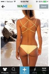 swimwear,yellow,pastel,cute,sexy,strappy bikini,hot,summer,bikini,spring break,pastel swimwear,underwear,yellow swimwear,lace up