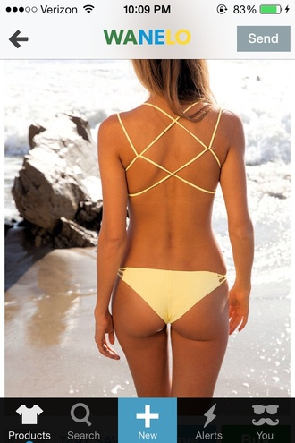swimwear yellow pastel cute sexy strappy bikini hot summer bikini spring break pastel swimwear underwear yellow swimwear lace up