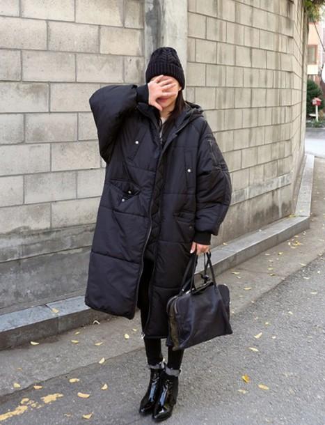 coat black down long down jacket black coat
