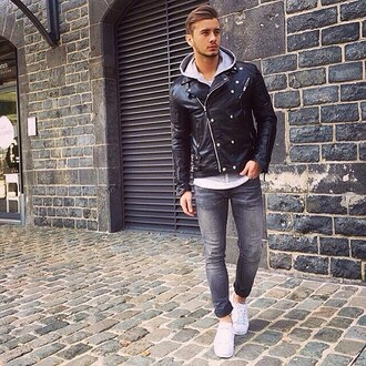 jacket maniere de voir leather ribbed studs 36683 menswear leather jacket biker jacket