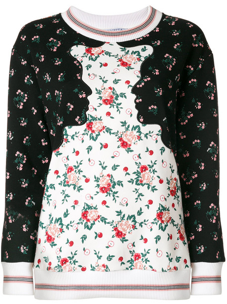 Vivetta - floral print sweatshirt - women - Cotton - 40, Black, Cotton