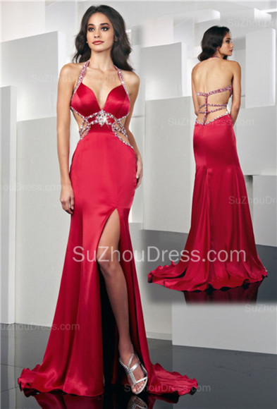 dress slit skirt slit dress satin dress red dress suzhoudress halter top crystal beading prom dress evening dress sexy dress