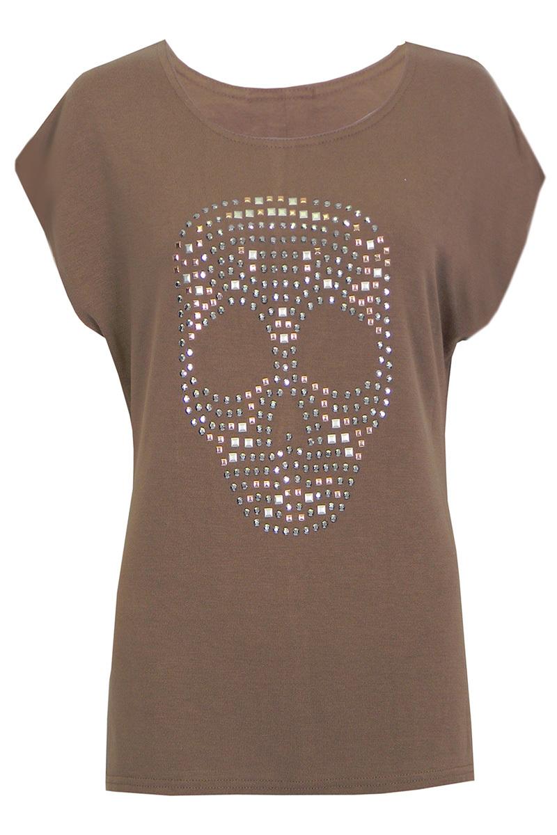 Mansi Jersey Studded Skull T-Shirt In Mocha