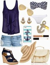 blouse,shirt,bow,royal blue,blue shirt,blue,bows,beach,summer outfits,cute,cute outfits,cut off shorts,cut offs,outfit,sun hat,denim,bag,wedges,swimmers,swimwear,sunnies,sunglasses,earrings,phone cover,ring,anchor,sailor,heaps cute,jewels,shoes,top,shorts,straw hat