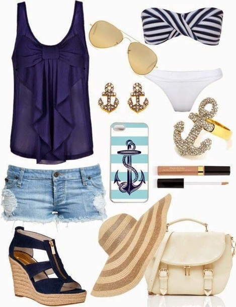 blouse shirt bow royal blue blue shirt blue bows beach summer outfits cute cute outfits cut off shorts cut offs outfit sun hat sun hat denim bag wedges swimmers swimwear sunnies sunglasses earrings phone cover phone cover ring anchor sailor heaps cute jewels shoes top shorts straw hat