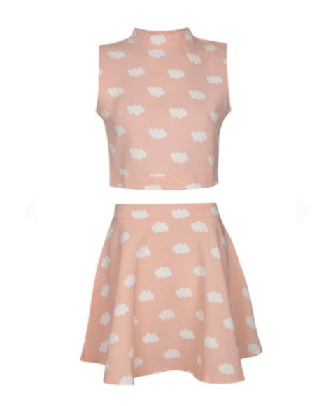 skirt pastel dress clouds two-piece