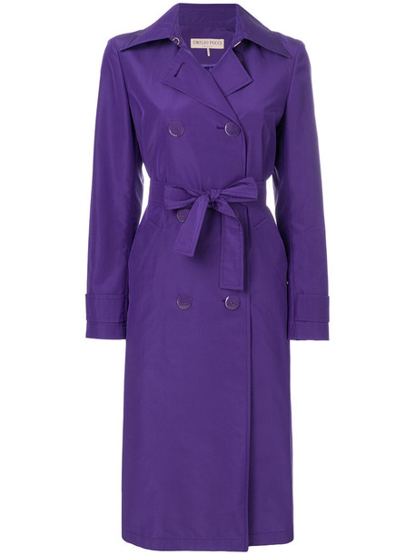 Emilio Pucci coat trench coat women cotton silk purple pink