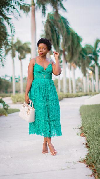 pinksole blogger jewels dress shoes bag midi dress summer outfits lace dress dior bag handbag sandals