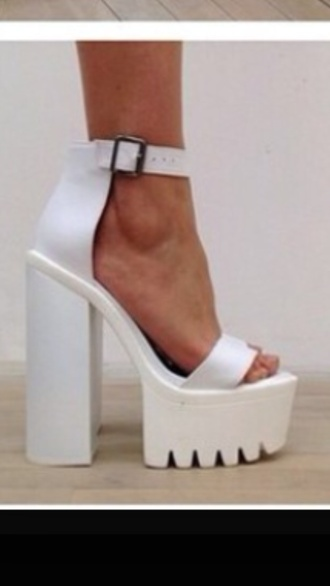 shoes white heels high heels platform shoes white shoes